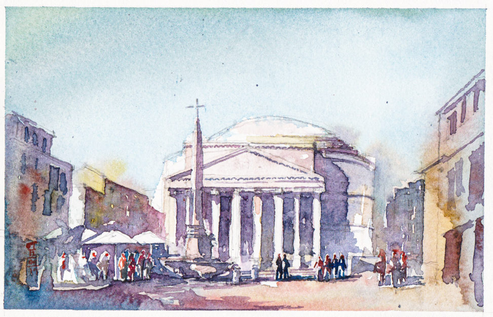 Frontal view of the Pantheon, Rome