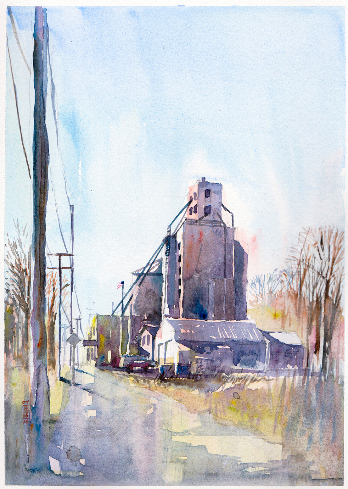 Watercolor Painting of Midwest Barn