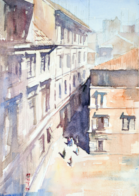 Watercolor painting of an aerial view of between an alley and Italian piazza
