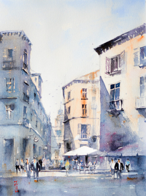 Watercolor Painting of Italian Town with a mid-day light.