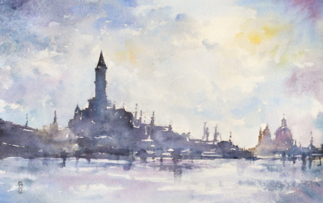 Watercolor Painting of Venice, Italy