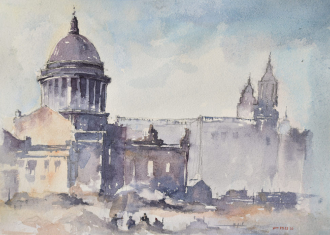 Watercolor painting of St. Paul's Cathedral, London