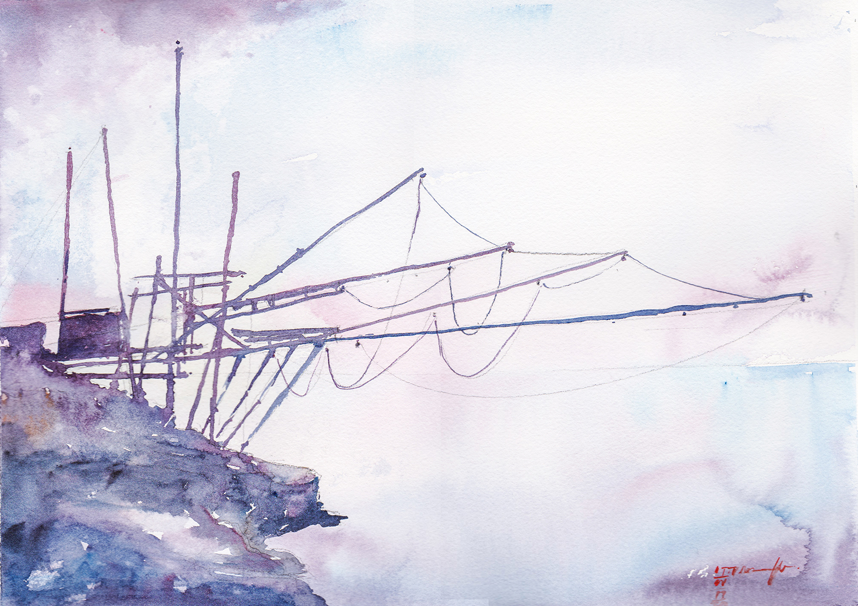 Watercolor Painting of Italian Fishing Structure