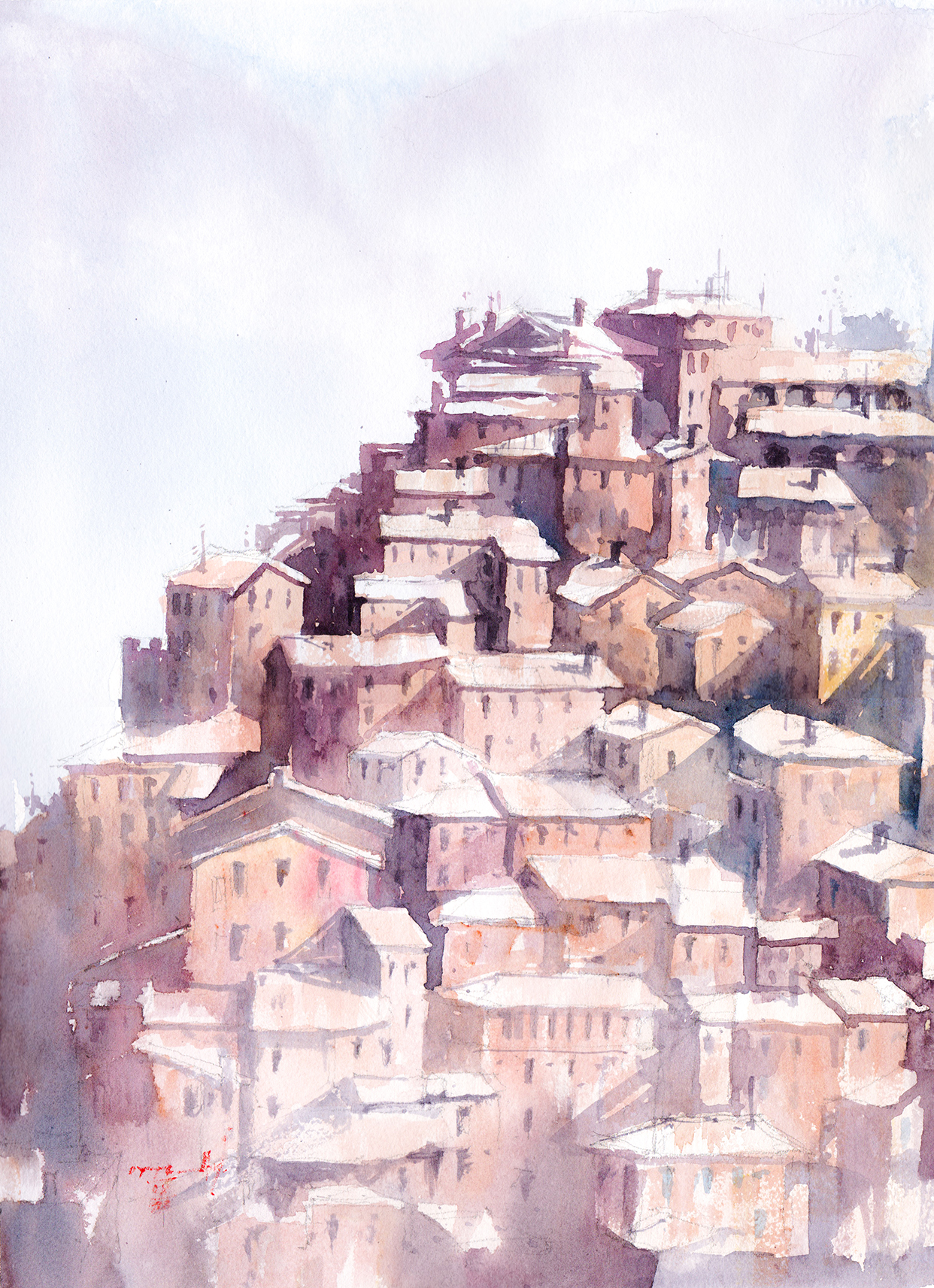 Watercolor Painting of Italian Hill Town