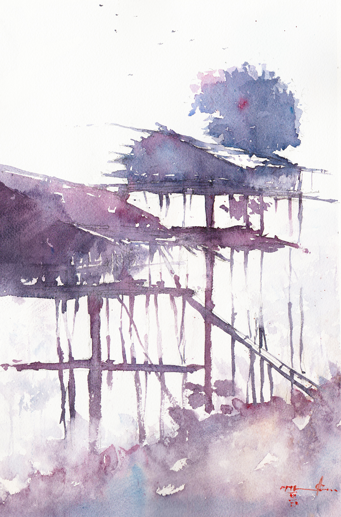 Watercolor painting of tree-house on Mount Clarence