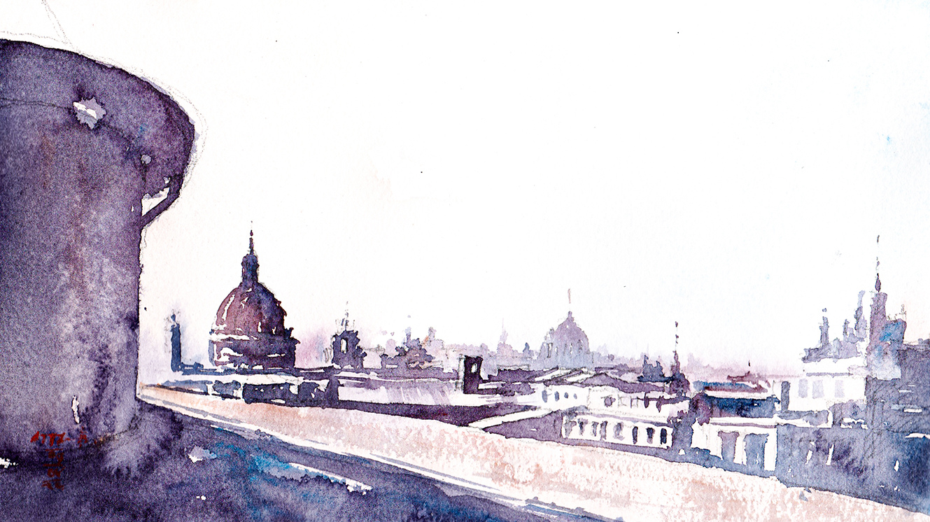Watercolor Sketch of Rome Skyline, Italy