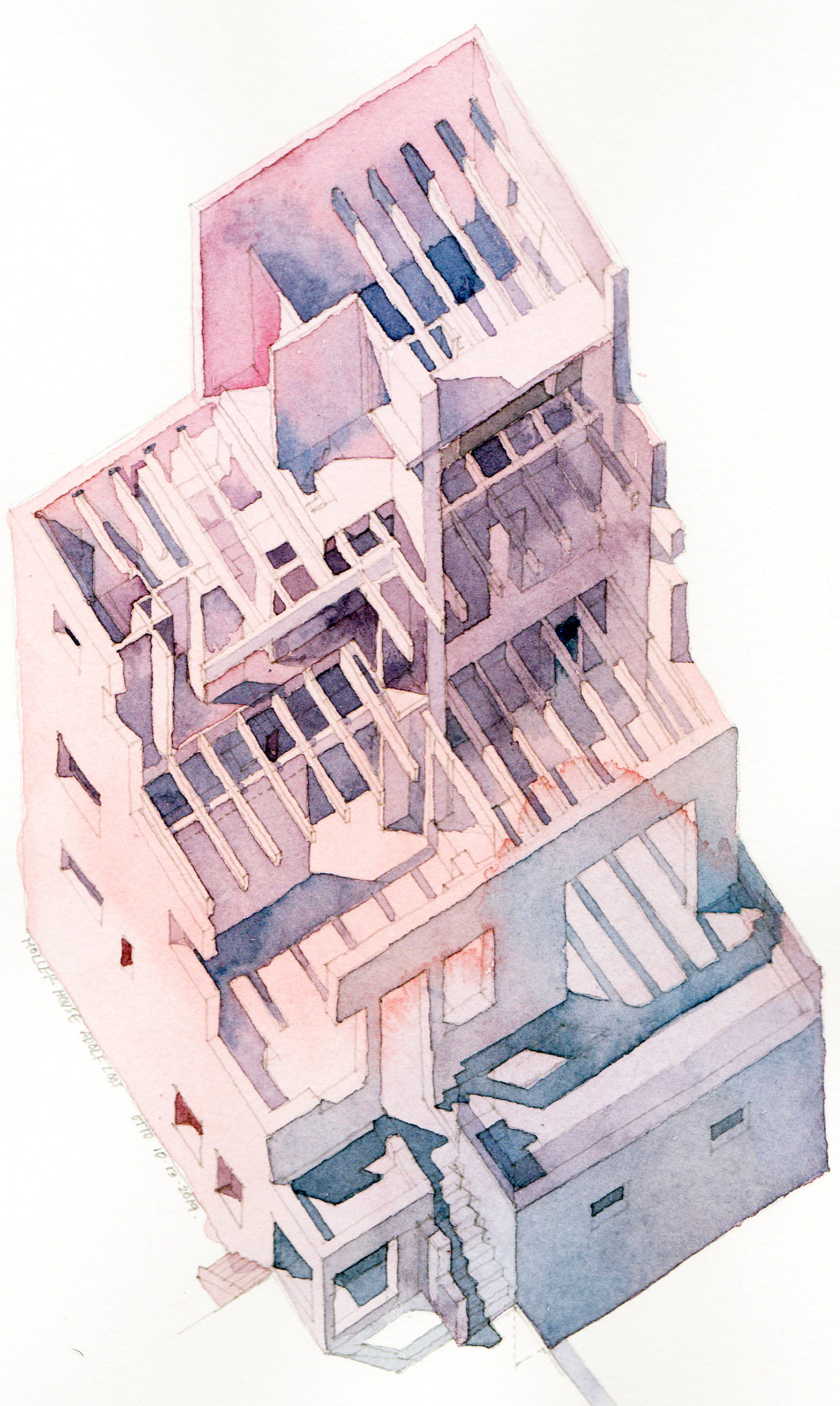 Axonometric painting of Moller House by Adolf Loos