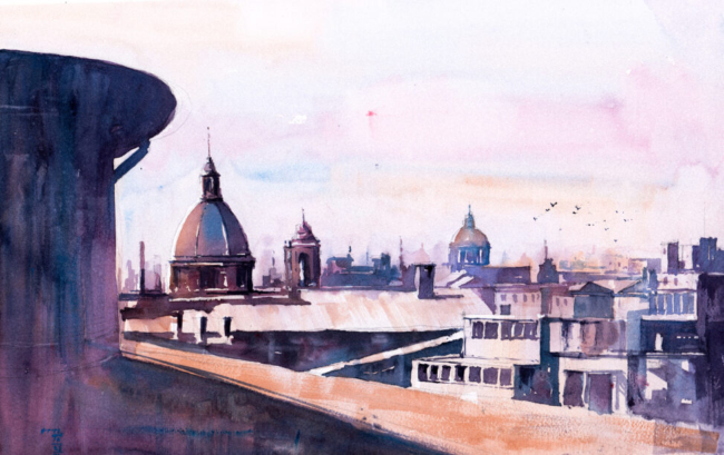 Watercolor painting of Rome skyline