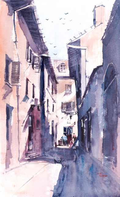Watercolor Painting of 14th century Houses at Assisi, Italy