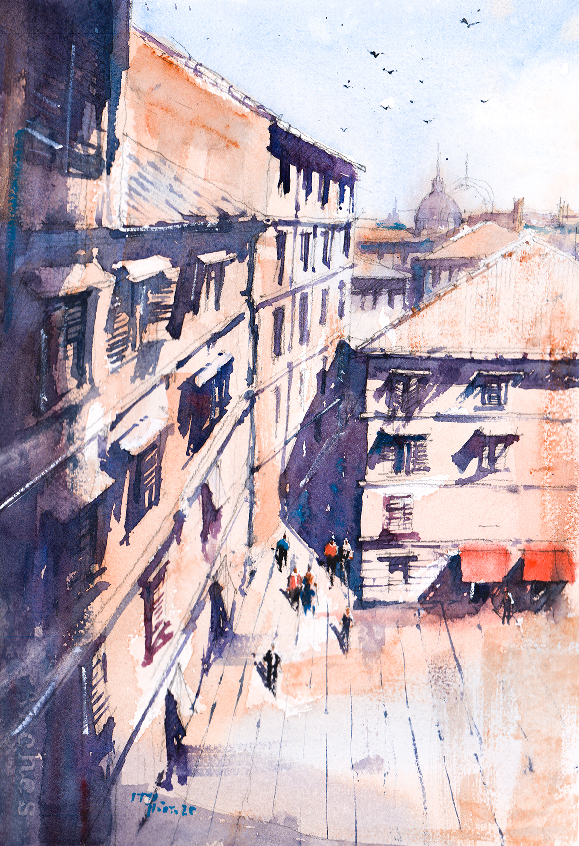 Watercolor painting of Piazza Navona, Rome, Italy