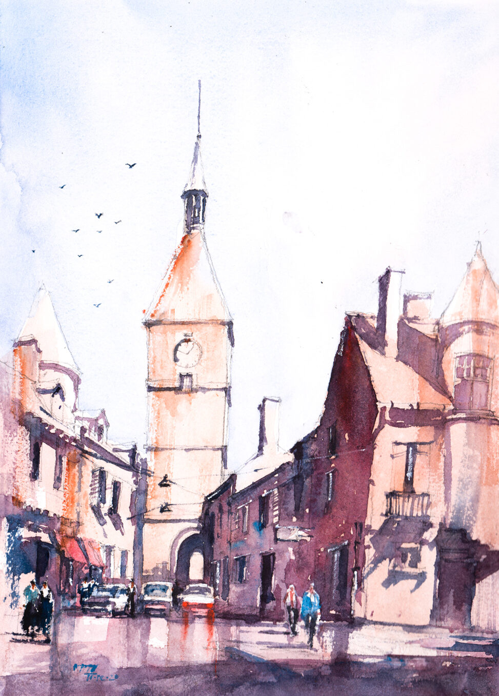 Watercolor Painting of Bugundy, France