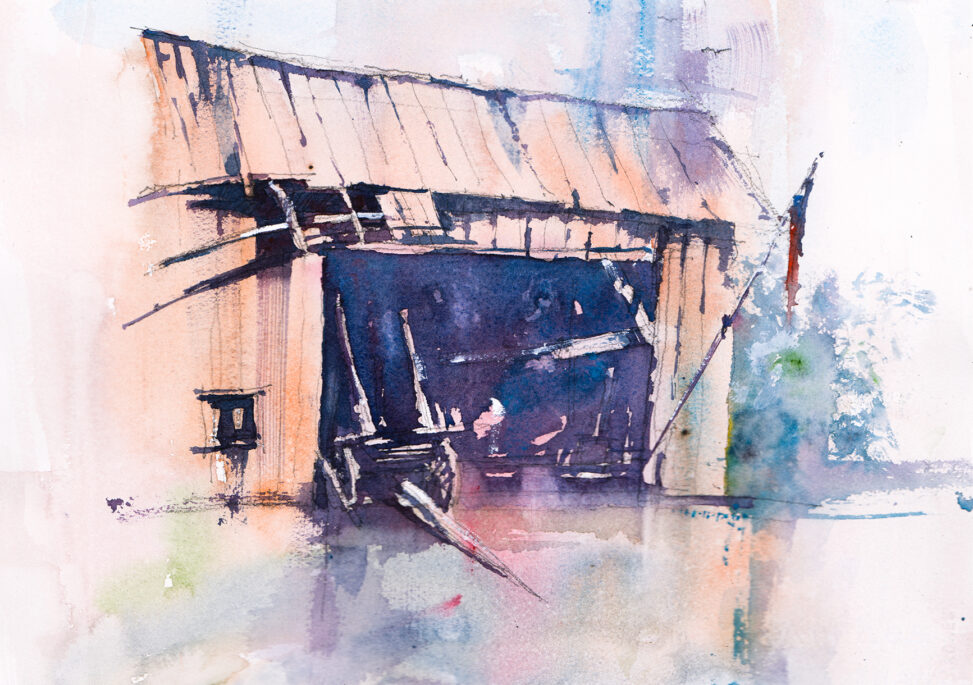 Watercolor painting of an old barn door: the beauty of imperfection