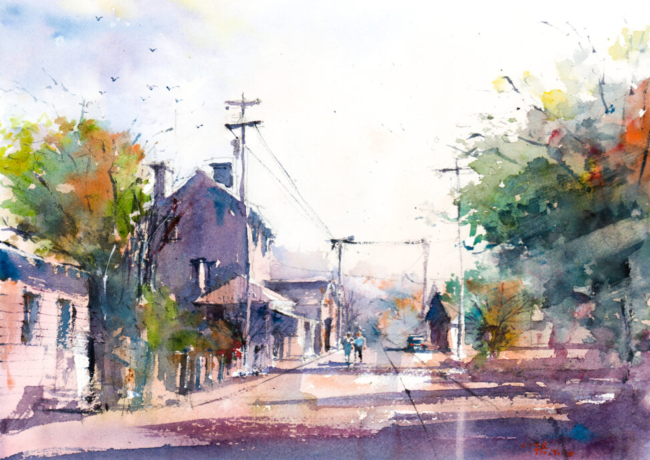 Watercolor painting of a small town