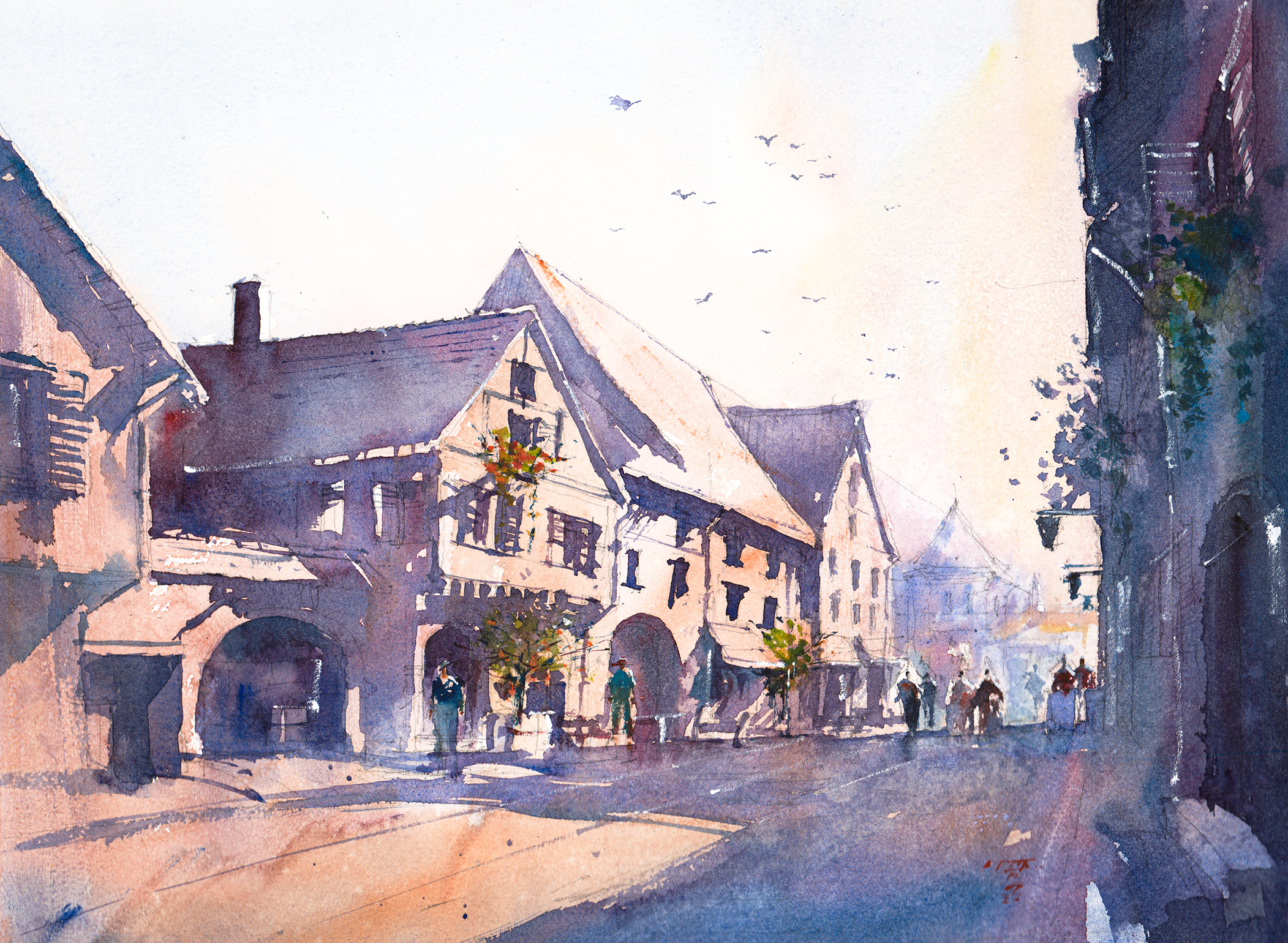 Watercolor Painting, street scene of Riquewihr, France
