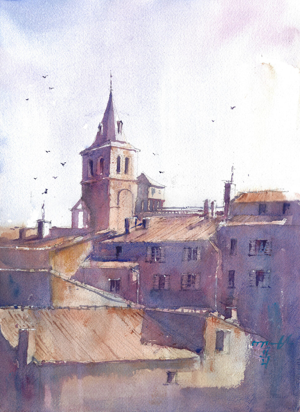 Watercolor Painting of France Village