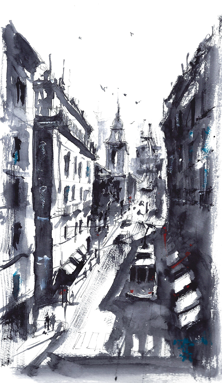 Water color painting of Lisbon Street Scene