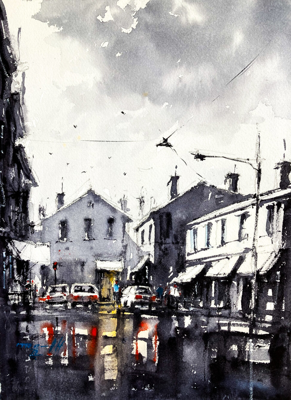 Watercolor Painting of a street scene