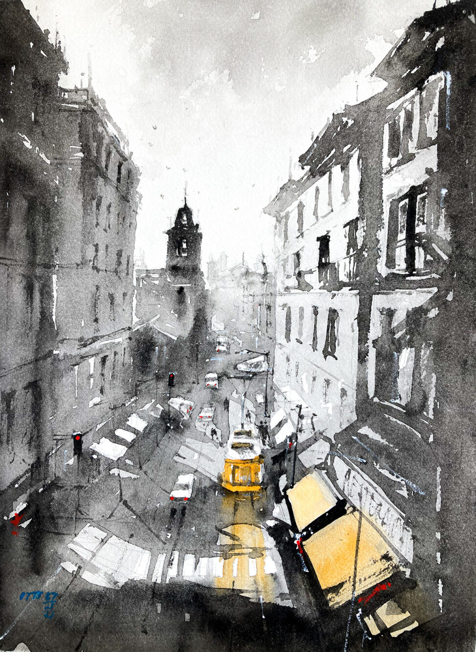 Watercolor color painting the street view of Lisbon Portugal