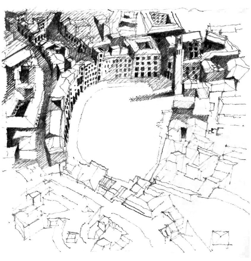 Aerial view of Italian Piazza