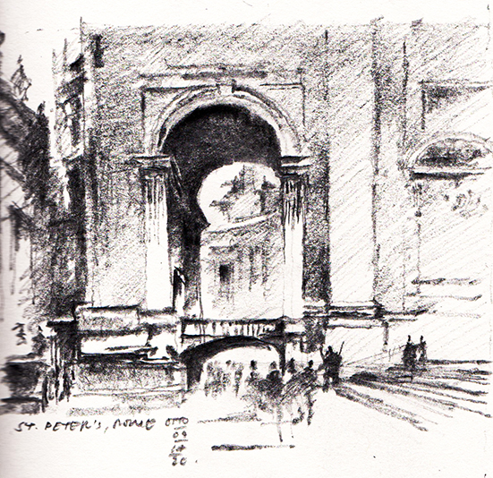 Graphite Sketch of St. Peter Rome