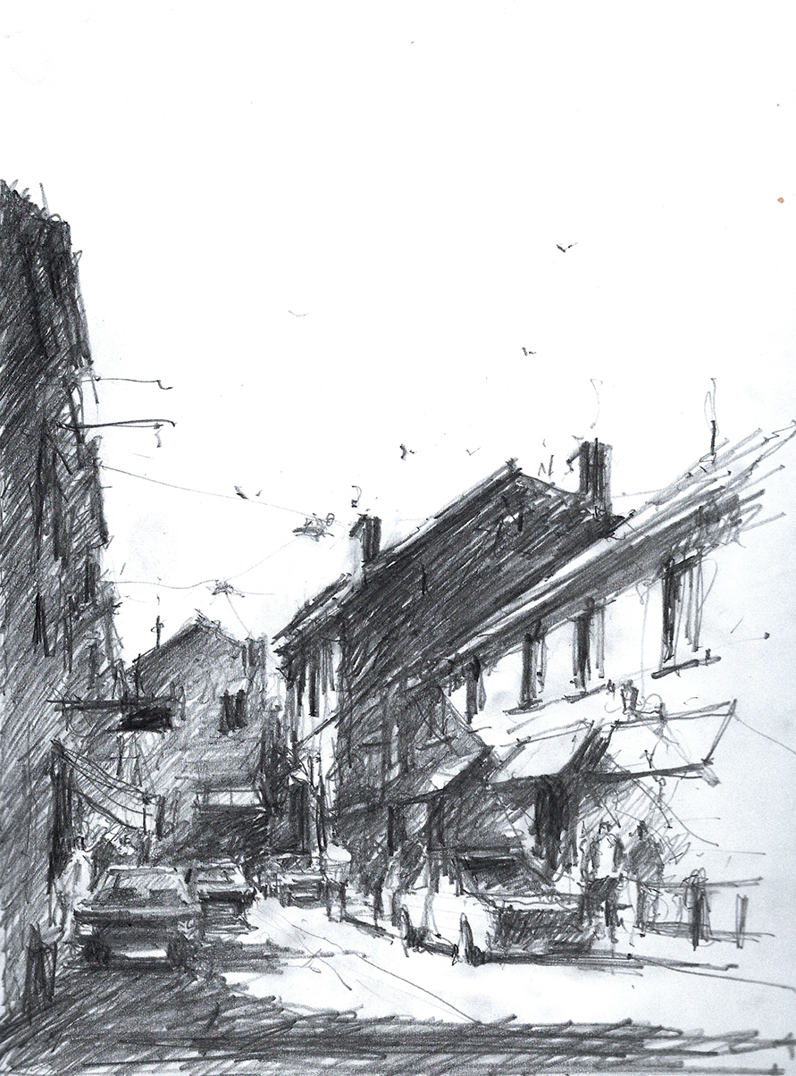 Pencil Sketch with One-Point perspective