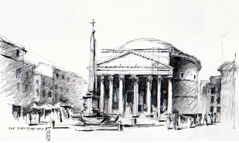 Graphite Sketch of the Pantheon, Rome