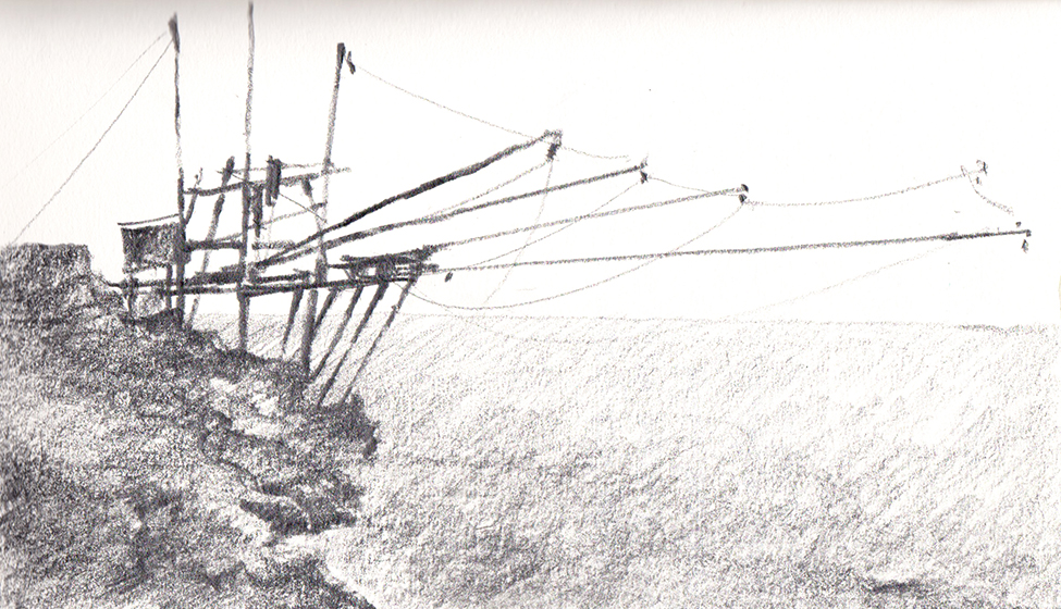 Graphite Sketch of Italian Fishing Structure