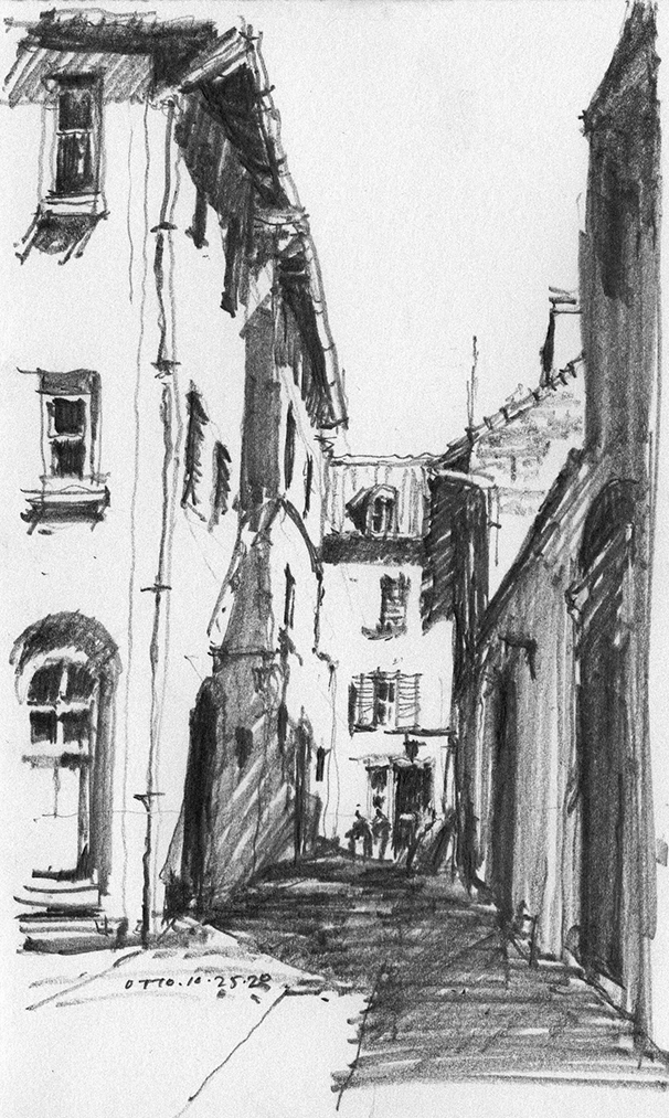 Graphite Sketch of 14 century Houses at Assisi, Italy