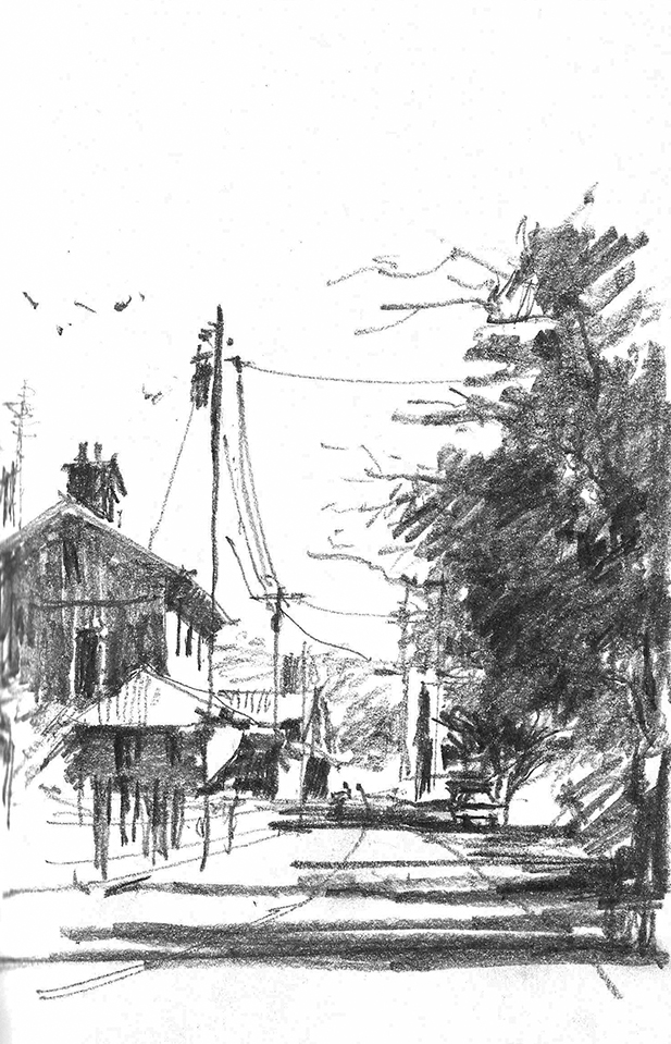 Graphite Sketch of Typical small town